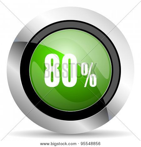 80 percent icon, green button, sale sign