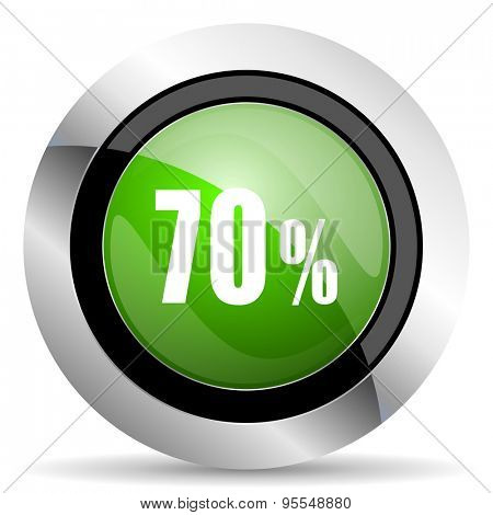 70 percent icon, green button, sale sign