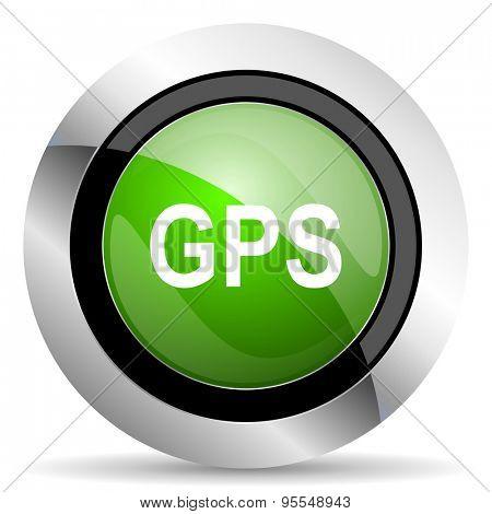 gps icon, green button