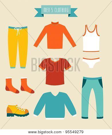 Men's clothes vector set