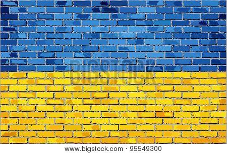 Grunge Flag Of Ukraine On A Brick Wall