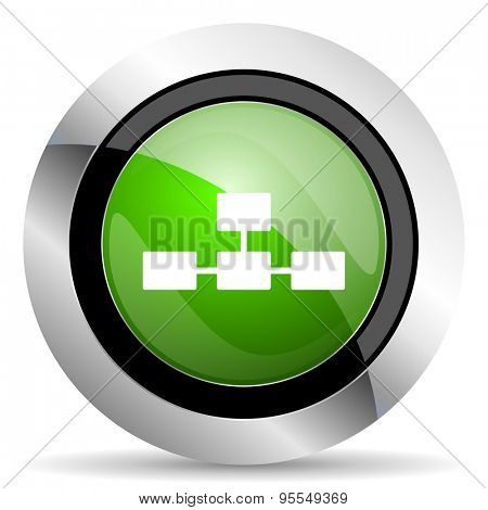 database icon, green button