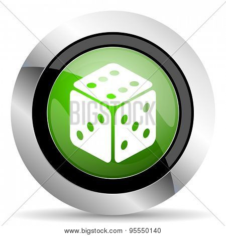 casino icon, green button, hazard sign