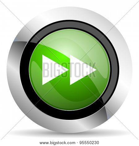 rewind icon, green button