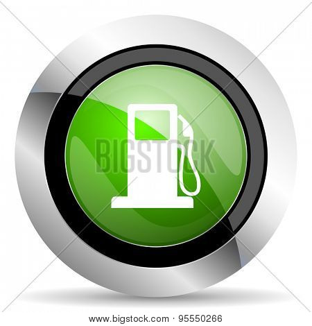 petrol icon, green button, gas station sign