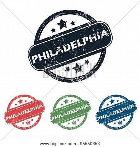Round Philadelphia city stamp set