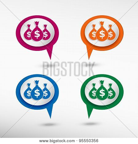 Money Symbol On Colorful Chat Speech Bubbles