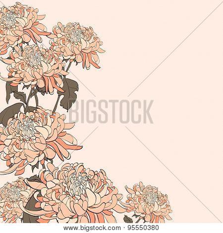 Bouquet Of Chrysanthemum On Beige Background.