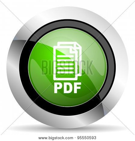 pdf icon, green button, pdf file sign