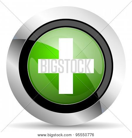 plus icon, green button, cross sign