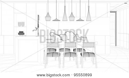 CAD wireframe mesh of eat-in-kitchen dining table (3D Rendering)