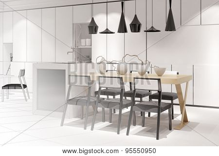 Sketch of a modern eat-in-kitchen with dining table from interior architect (3D Rendering)