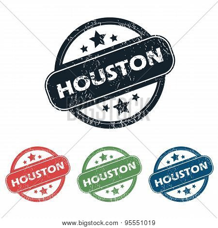Round Houston city stamp set