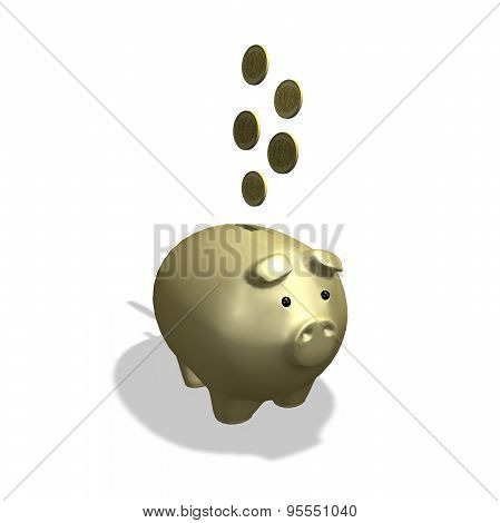 Gold Piggy Bank With Coins, Banking And Economy Abstract Concept
