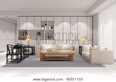 Modern clean living room in loft with couch and table (3D Rendering)