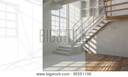 Room planning in a loft with CAD wireframe and white and color version (3D Rendering)