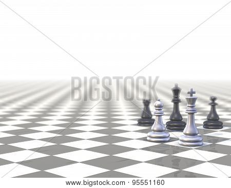 Background With Strategic Chess Set