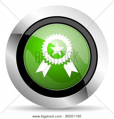 award icon, green button, prize sign