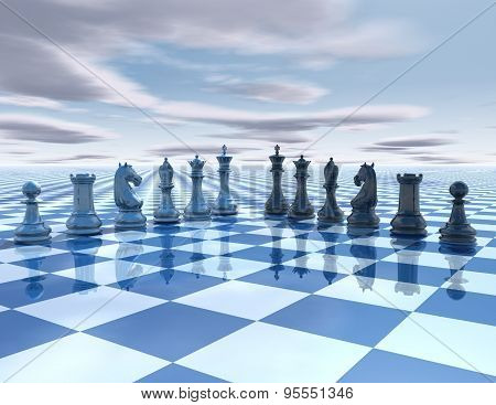 Chess Surreal Background With Chess Pieces