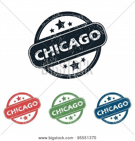 Round Chicago city stamp set