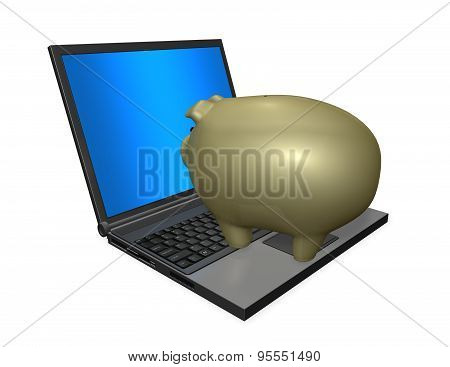 Financial Education Concept With Portable Computer And Gold Piggy Bank