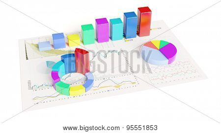 Colorful 3D graphs on paper with statistical analysis and charts (3D Rendering)