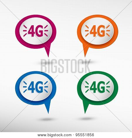 4G Sign On Colorful Chat Speech Bubbles .