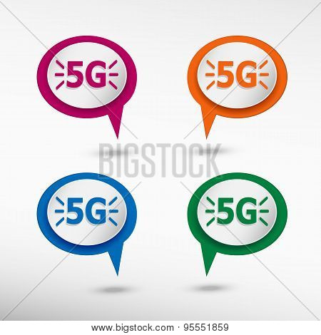 5G Sign On Colorful Chat Speech Bubbles.