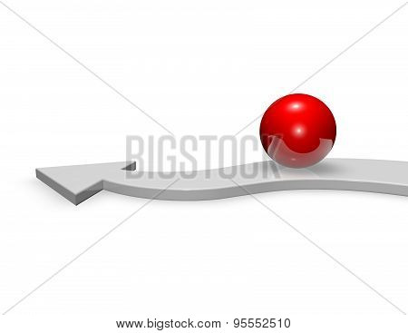 Aim, Purpose Concept With 3D Red Ball And Arrow, Isolated On White.