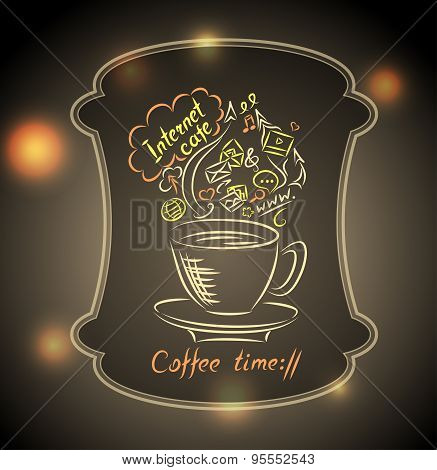 Concept of coffee time with ground glass on  town light background