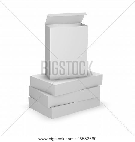 Pile Od Product Boxes, Template With Empty Copy Space,  Product Packaging.