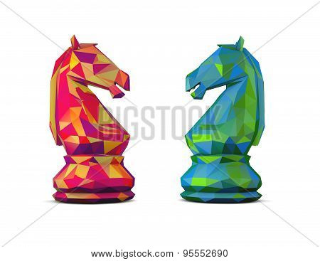 Colorful 3D Geometrical Chess Horses.