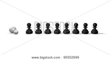 Chess Pieces In A Row, Black And White, Isolated. 3D Horizontal Illustration.