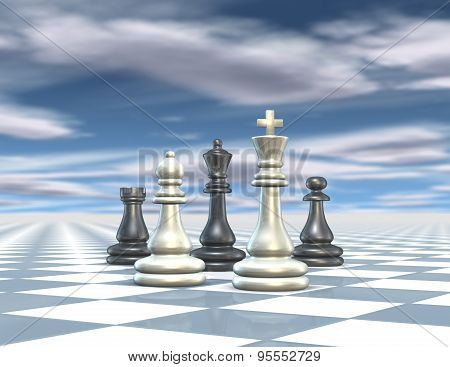 Abstract 3D Render Illustration With Chess Set, Blue Background With Cloudy Sky.