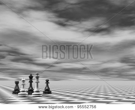 Abstract Chess 3D Background Render, Black And White.