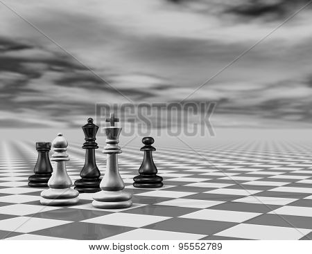 3d abstract background with chess pieces, black and white