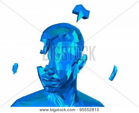 Stress And Depression Concept With Shattered Human Geometrical Face.