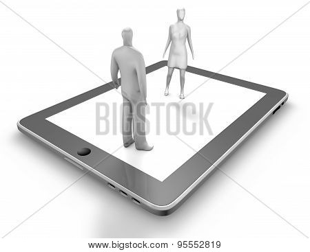 Digital Communication, On Line Dating Concept With Man And Woman Silhouettes And Tablet.
