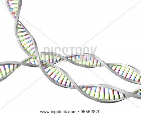 Dna Helix 3D Shape, Science, Biotechnology Concept Illustration.