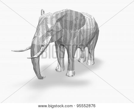 Paper 3D Elephant With Numbers Texture, Accounting, Banking Concept.