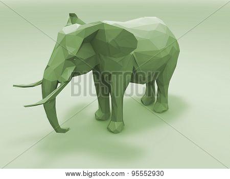 Elephant Figurine Made With Geometric Shapes Illustration.