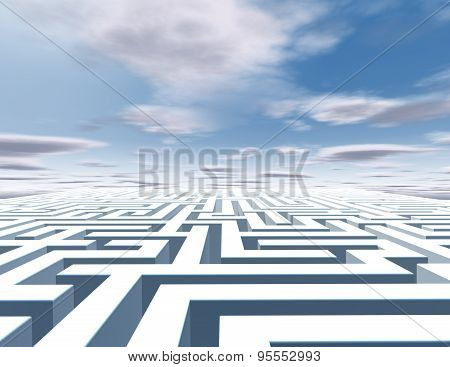 3D Abstract Horizontal Background With Maze And Blue Sky.