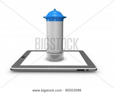 Illustration with advetising column and tablet.