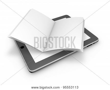 Reading On Line, Electronic Publications Abstract Concept With Tablet And Open Book.