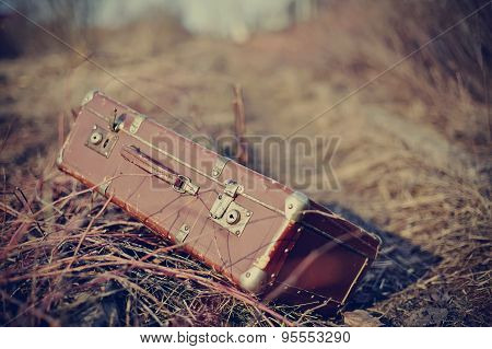 Old Fashioned Vintage Forgotten A Suitcase