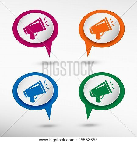 Megaphone On Colorful Chat Speech Bubbles