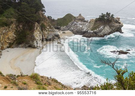 Waterfall In The California Coast
