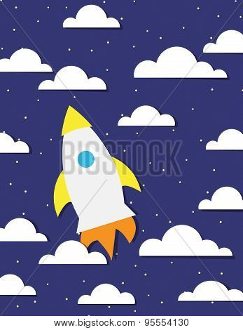 Rocket Ship And Sky