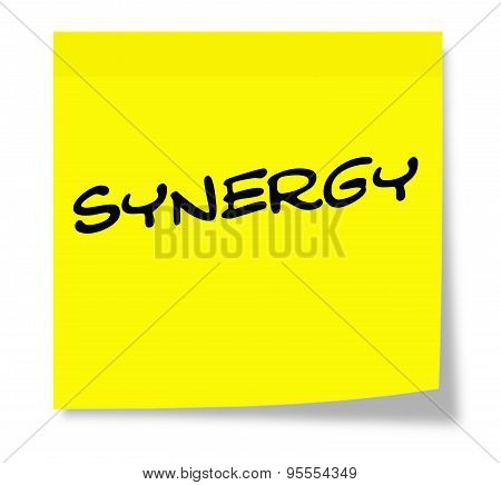 Synergy Written On A Yellow Sticky Note