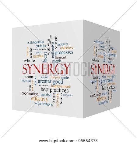 Synergy 3D Cube Word Cloud Concept